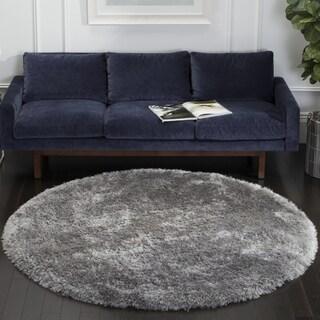 Safavieh Handmade Luxe Shag Grey Polyester Rug (8' Round)