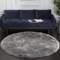 Safavieh Handmade Luxe Shag Grey Polyester Rug - 8' Round