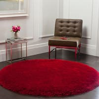 Safavieh Handmade Luxe Shag Red Polyester Rug - 8' Round