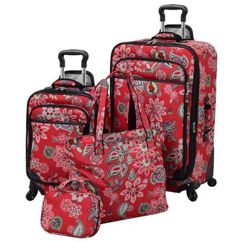 Waverly Boutique Cherry Floral 4-piece Spinner Luggage Set