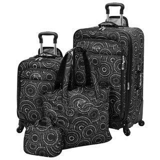 Waverly Boutique Black White Dot 4-piece Spinner Luggage Set