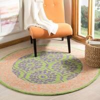 Safavieh Hand-Hooked Suzani Vintage Bohemian Green/ Violet Wool Rug - 5' x 5' round