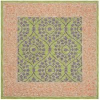 Safavieh Hand-Hooked Suzani Vintage Bohemian Green/ Violet Wool Rug - 5' x 5' square