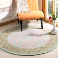 Safavieh Hand-Hooked Suzani Vintage Bohemian Taupe/ Pink Wool Rug - 5' x 5' round