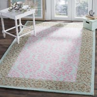Safavieh Hand-Hooked Suzani Vintage Bohemian Taupe/ Pink Wool Rug - 5' x 5' square