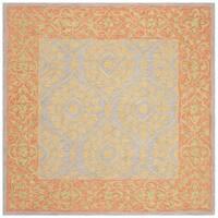 Safavieh Hand-Hooked Suzani Vintage Bohemian Orange/ Silver Wool Rug - 5' x 5' square