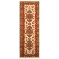 Handmade Herat Oriental Indo Hand-knotted Kazak Wool Rug (India) - 2'11 x 8'2