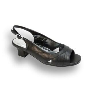 PEERAGE Karen Women Extra Wide Width Leather Open-Toe Slingback Sandal