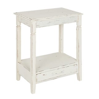 Kate and Laurel Idabelle White Wood Side Table With Drawer