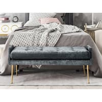 Eileen Slub Grey/Gold Velvet/Stainless Steel Bench