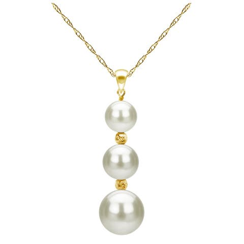 DaVonna 14k Yellow Gold Graduated Freshwater Pearl Pendant Necklace 18 inch