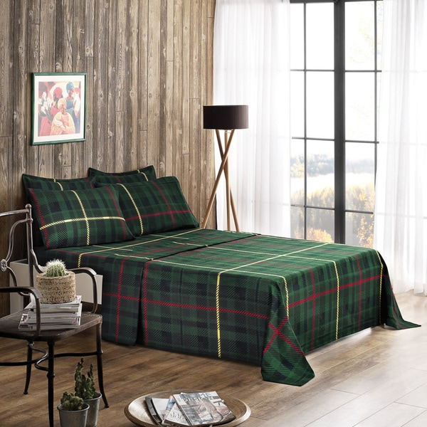 Shop Green Plaid Flannel Sheet Set Free Shipping Today