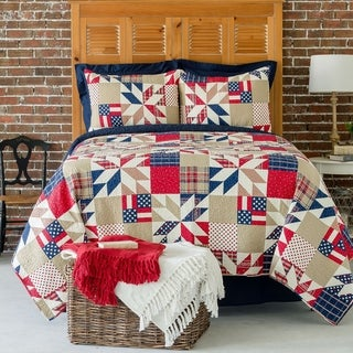 Jackson Printed Patchwork Style Cotton Quilt Set