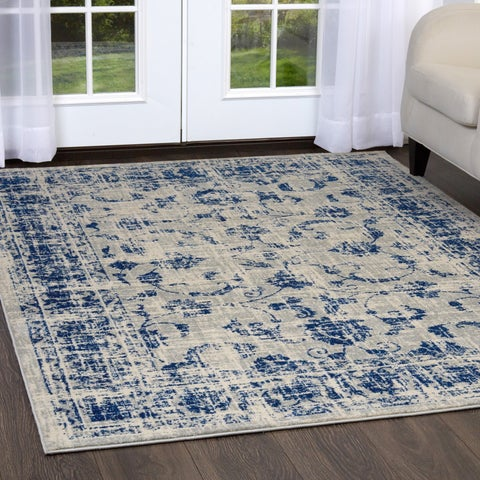 Home Dynamix Grey/ Blue Persian Vintage Runner Rug
