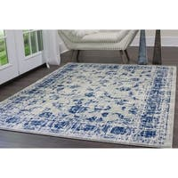 "Home Dynamix Vintage Gray-Blue (5'3"") Round Persian Area Rug"