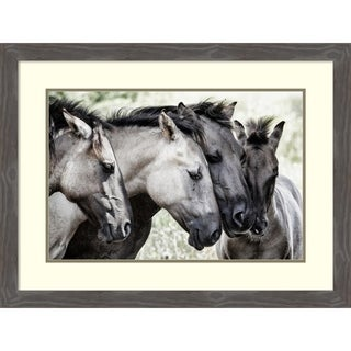 Framed Art Print 'Four Konik Horses' by Jaap van den 33 x 25-inch