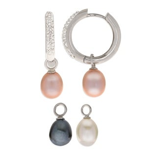 PearLustre by Imperial 3pc Sterling Silver Interchangeable Freshwater Pearl and Crystal Hoop Earring Set