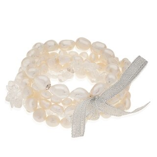 PearLustre by Imperial 5pc Freshwater Pearl and Crystal Quartz Bracelet Set