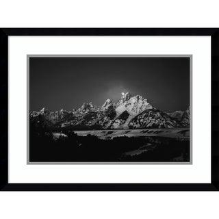Framed Art Print 'Full Moon Sets In The Teton Mountain' by Raymond Salani III