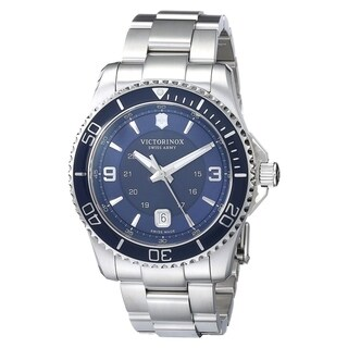 VictorinoxMen's Maverick Gs 241602 Silvertone Watch with Blue Dial