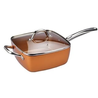 "Chefs Cusine 9.5"" Deep Square Copper Pan with Lid"
