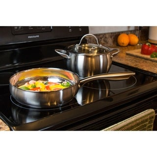 """9.5"""" Stainless Steel Casserole Fry Pan with lid"""