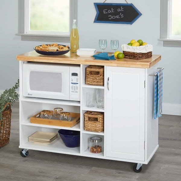 microwave kitchen cart with storage shop simple living rolling galvin microwave cart on 9161