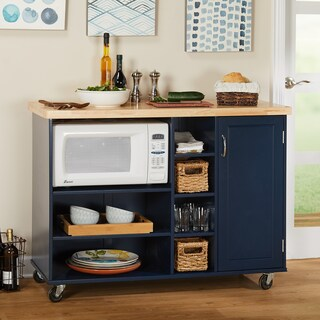 Simple Living Rolling Galvin Microwave Cart (Option: Blue)