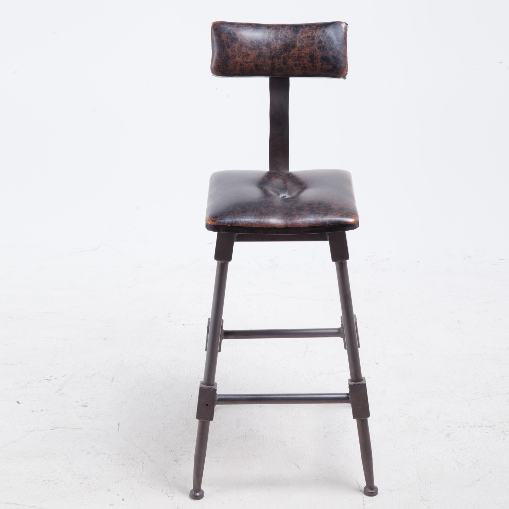Magnificent Brown Faux Leather And Black Iron Bar Stool With High Back Forskolin Free Trial Chair Design Images Forskolin Free Trialorg