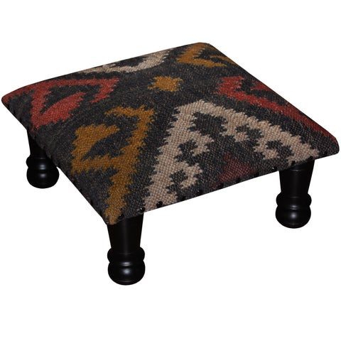 Handmade Herat Oriental Tribal Kilim Upholstered Footstool (India)