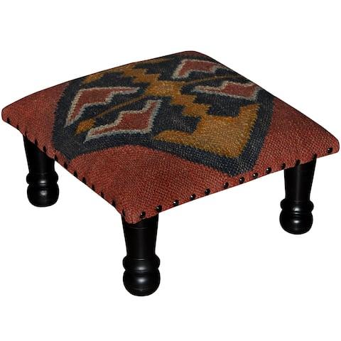 "Handmade Kilim Ottoman Footstool (India) - 15"" x 15"" x 7"""
