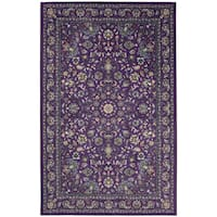 Gracewood Hollow Sciascia Purple Traditional Floral Area Rug - 8' x 10'