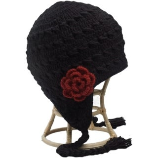 Crochet Flower Detail Earflap Hat