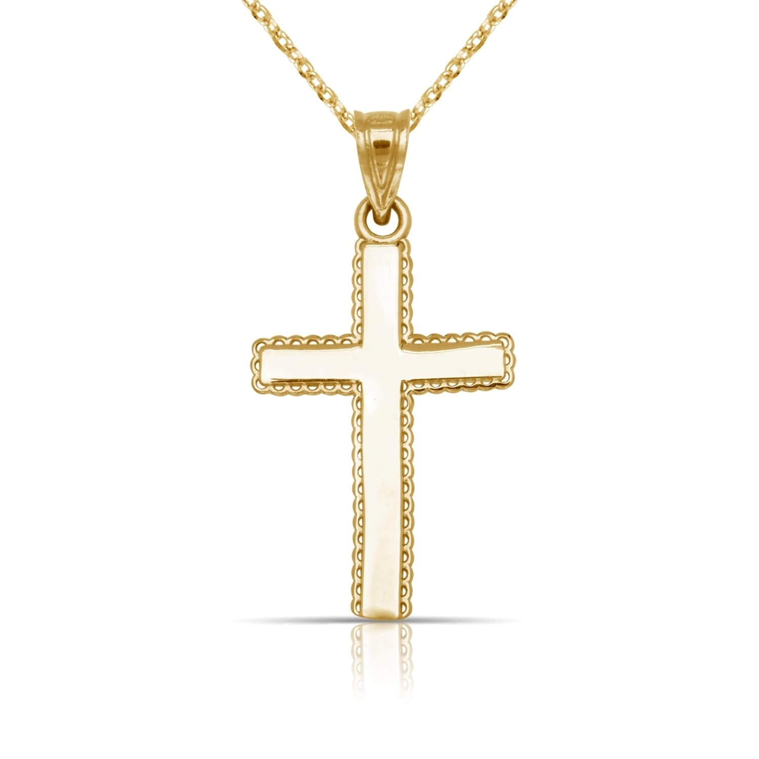 14K Yellow /& White Gold Polished Beaded Crucifix Pendant