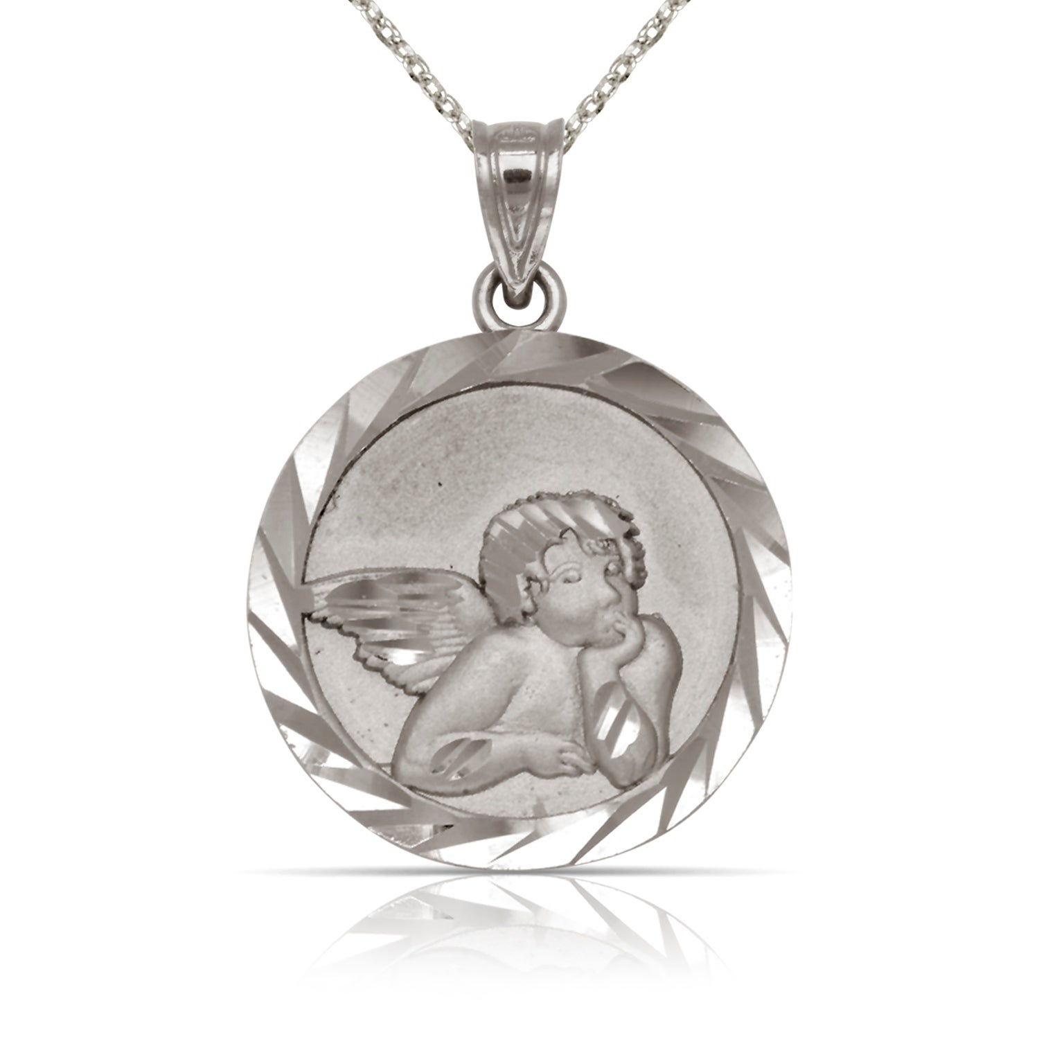 e018f0e054a Shop Solid 14K White Gold Small Satin Diamond-cut Round Guardian Angel  Medal Pendant Necklace (15mm x 21mm) (16