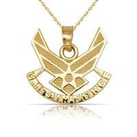 """Solid 14K Yellow Gold U.S. Airforce Wings Pendant Necklace (17mm x 17mm) (16"""" gold filled chain)"""