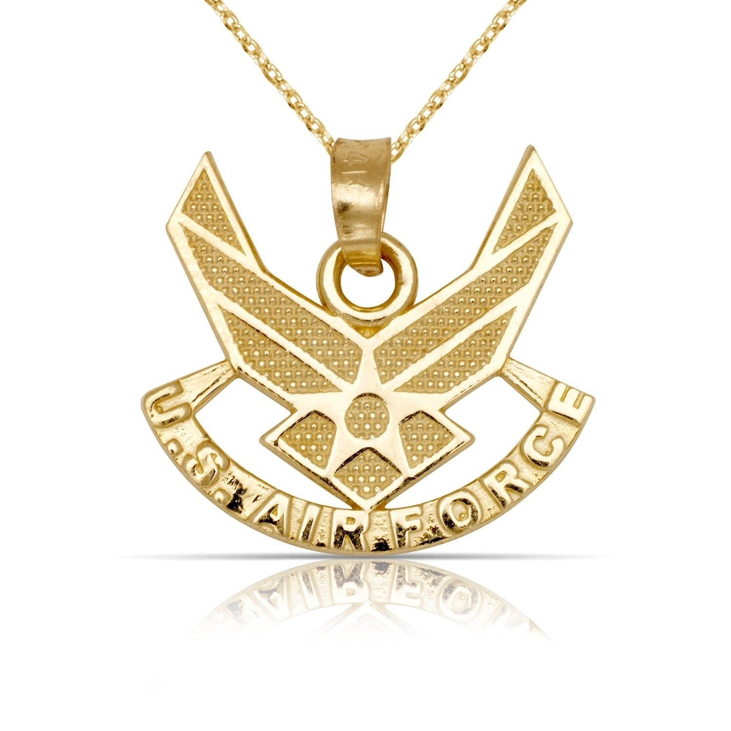 14K Yellow Gold Pilot Pendant With Necklace