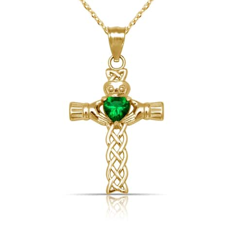 """Solid 14K Yellow Gold Green Cubic Zirconia Woven Claddagh Celtic Cross Pendant Necklace (20mm x 32mm) (16"""" gold filled chain)"""