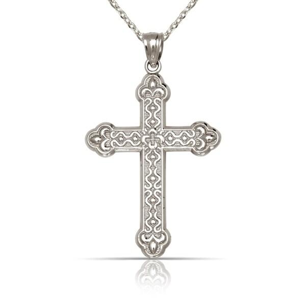 Shop Solid 14k White Gold Medium Ornate Budded Cross