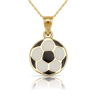 "Solid 14K Yellow Gold Black/White Enamel 16"" Flat Soccer Ball Pendant Necklace"