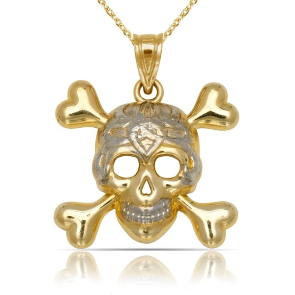Solid 14k yellow gold with rhodium skull and crossbones pendant solid 14k yellow gold with rhodium skull and crossbones pendant necklace 15mm x 20mm aloadofball Gallery