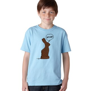 Youth Bite Me Chocolate Easter Bunny T Shirt Funny Easter Basket Tee