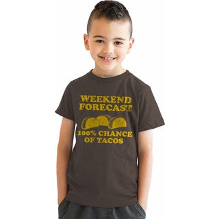 Youth Weekend Forecast 100% Chance of Tacos Tshirt Funny Mexican Food Tee