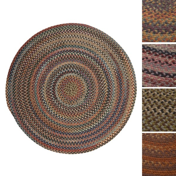 Pine Canopy Coconino Multicolored Wool Braided Reversible Area Rug (5' Round)