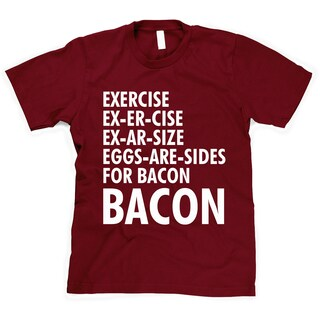 Youth Kids Exercise Bacon T Shirt Funny Breakfast Lovely Cute Tees for Children