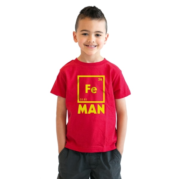 Youth Iron Man Science T shirt Cool Shirts Novelty Kids Funny T shirt Graphic Design