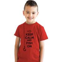 Youth Keep Calm And Fish On T Shirt Funny Fishing Tshirt Kids Going Fishing