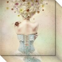 Canvas Art Gallery Wrap 'Girl Of The Flower Garden' by Kiyo Murakami 16 x 16-inch