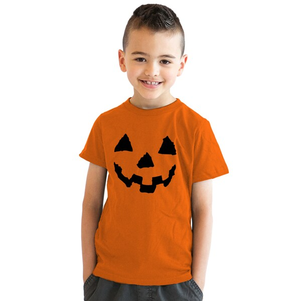 f5859185 Shop Youth Pumpkin Face T-Shirt Funny Halloween Shirt for Kids - On Sale -  Free Shipping On Orders Over $45 - Overstock - 18849716