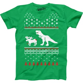 Youth T-Rex Attack Ugly Sweater T Shirt Funny Christmas Dino Tee For Kids
